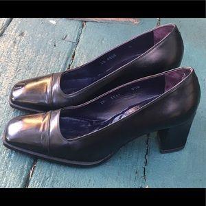 Ralph Lauren Purple Label Black Leather Heels